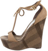 Burberry Suede Platform Wedge Sandals