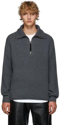 Acne Studios Grey Melange Wool Half-Zip Sweater