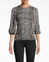 Nicole Miller Leopard Long Sleeve Smocked Top