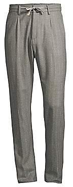 Eleventy Men's Raised Boucle Chalk Stripe Pants