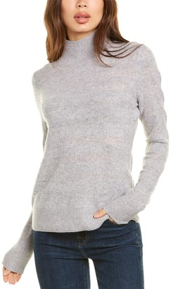 InCashmere Sequin Striped Mock Cashmere-Blend Sweater