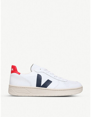Veja Brand-embellished leather low-top trainers