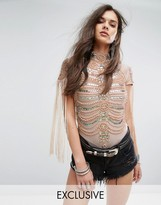 A Star Is Born A Star is Born High Neck Bodysuit in Iridescent Embellishment and Fringe