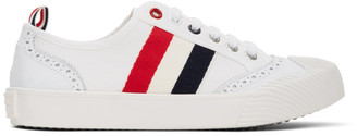 Thom Browne White Brogued Canvas Sneakers