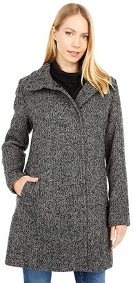 Cole Haan Houndstooth Tweed Topper Coat with Snap Closure (Charcoal) Women's Clothing