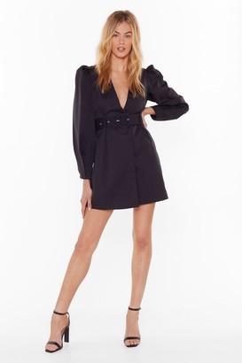 Nasty Gal Womens Keep Me In The Loop Puff Sleeve Blazer Dress - Black - 10