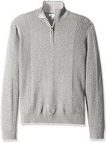 Calvin Klein Men's Quarter Zip Mock Neck Long Sleeve Sweater