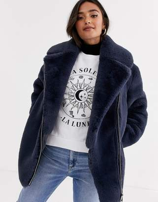 Asos Design DESIGN biker in faux fur coat in gray