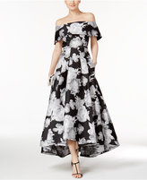Vince Camuto Floral-Print Off-The-Shoulder Gown
