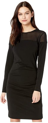 Nicole Miller Heavy Jersey/Mesh Long Sleeve Dress (Black) Women's Clothing