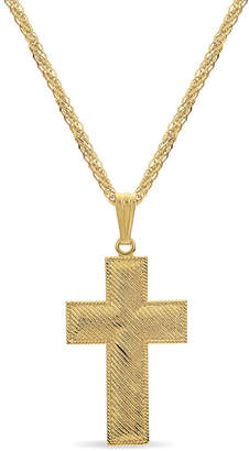 Silver Cross FINE JEWELRY Made in Italy Mens 18K Gold Over Silver Sterling Pendant Necklace