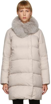 Yves Salomon Grey Down and Fur Coat