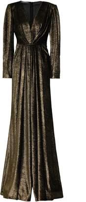 Alberta Ferretti Wrap-effect Devore-velvet Gown