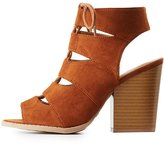 Charlotte Russe Qupid Caged Lace-Up Sandals