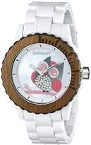 Sprout Women's ST/6507MPWT Owl Dial White Corn Resin Swarovski Elements Bracelet Watch
