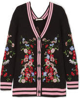 Maje Madene Embroidered Chunky-knit Cardigan - Black