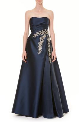 Carolina Herrera Crystal Embellished Strapless Taffeta Ballgown