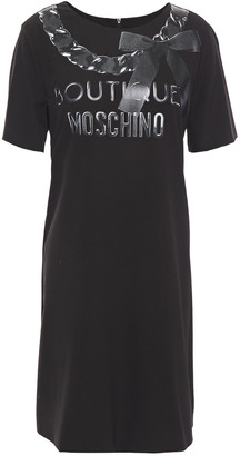 Boutique Moschino Metallic Logo-print Stretch-crepe Mini Dress