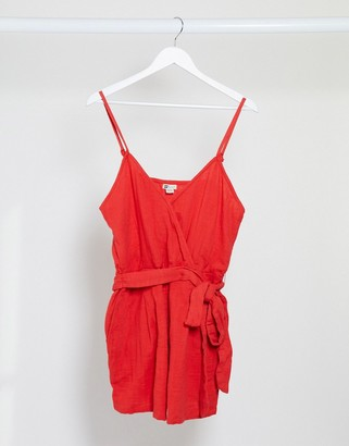 Billabong Linger On beach playsuit in red