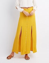 Charlotte Russe Double Slit Button-Up Maxi Skirt