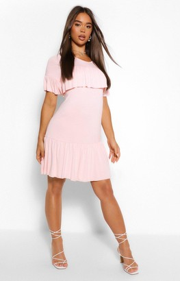 boohoo Frill Drop Hem Smock Dress