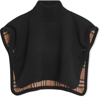 Burberry Reversible Vintage Check Merino Wool Jacquard Poncho