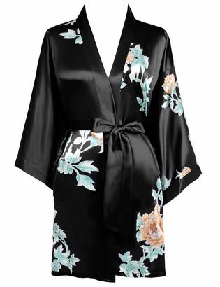 BABEYOND Women's Short Kimono Dressing Gown Satin Floral Printed Kimono Cardigan Knee Length Robe for Nightwear Girl's Bonding Party Wedding Pajama Party(Style-1-Black)