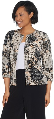 Joan Rivers Classics Collection Joan Rivers Patchwork Print Jacket with 3/4 Sleeves