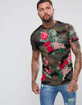 Hype Muscle T-Shirt In Camo With Floral Print