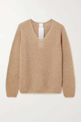 Max Mara Leisure Posato Metallic Ribbed Open-knit Sweater - Camel
