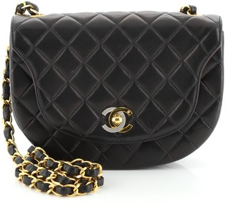 Chanel Vintage Half Moon Two Tone Chain Flap Quilted Lambskin Mini