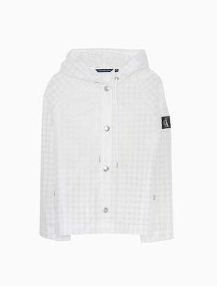 Calvin Klein Gingham Monogram Logo Water-Repellent Jacket