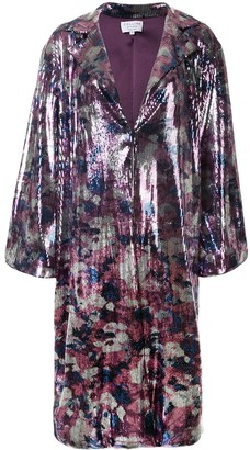 Collina Strada Sequin-Embellished Floral-Pattern Coat