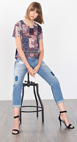 Esprit OUTLET loose, mixed material printed t-shirt