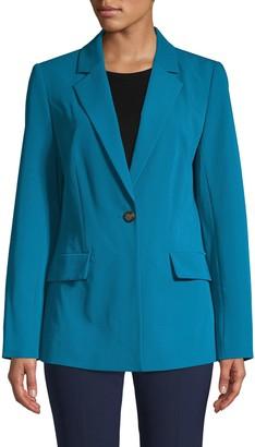 Donna Karan One-Button Slim Blazer