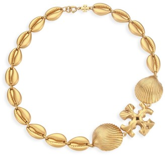 Tory Burch Goldtone Logo & Seashell Statement Necklace