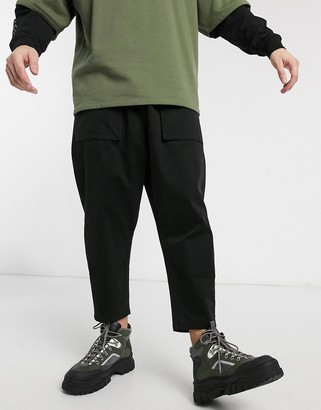 ASOS DESIGN drop crotch chino pants in black