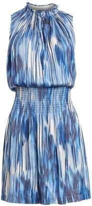 Halston Sleeveless Smocked V-Neck Dress