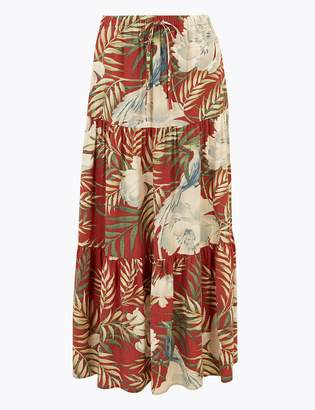 Per UnaMarks and Spencer Floral Print Fit & Flare Maxi Skirt