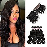 Fabeauty 7A (20 20 22 22+18) Human Hair Bundles With Lace Frontal Closure Brazilian Body Wave Hair 4 Pcs With Closure Full Frontal Lace Closure (134), Natural Black