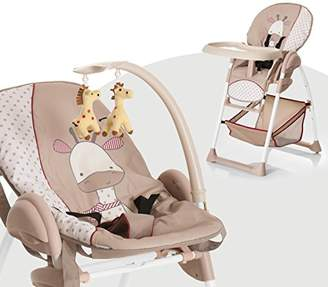 Hauck Sit'n Relax, 3 in 1 Highchair from Birth, with New-Born Attachment, Height-Adjustable Grow-Along Chair with Play Arch, Tray, Wheels, Foldable Baby Chair, Giraffe