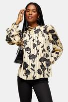 Topshop Womens Floral Print Stripe Blouse - Yellow
