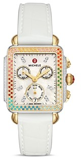 Michele Carousel Two-Tone Diamond Chronograph Watch, 33mm x 35mm