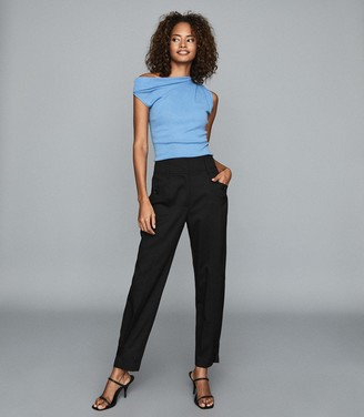Reiss MADELINE FRONT POCKET TAPERED TROUSERS Black