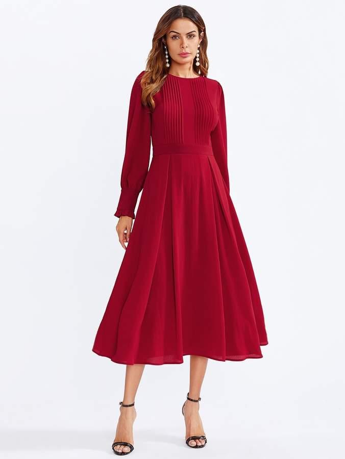 Shein Pleated Detail Flowy Midi Dress