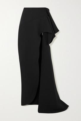 Maticevski Dream Asymmetric Draped Cady Maxi Skirt - Black