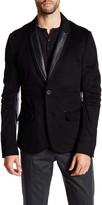 Rogue Black Genuine Leather Trim Two Button Notch Lapel Wool Trim Fit Blazer
