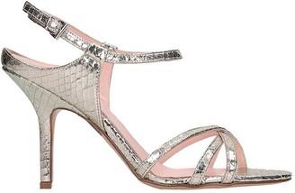 ANNA F. Sandals In Platinum Leather