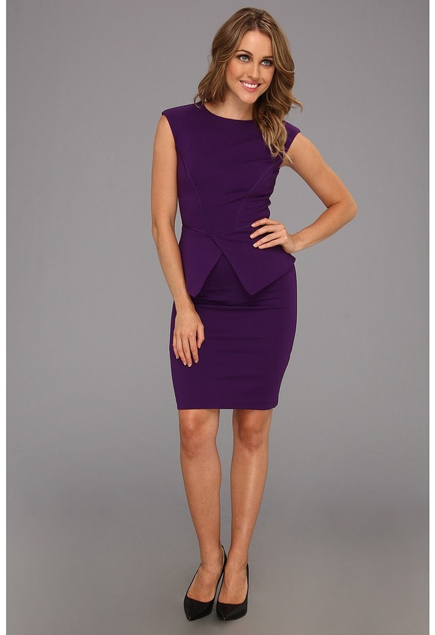 Ted Baker Evvie Structured Waist Dress (Deep Purple) - Apparel