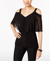 MSK V-Neck Cold-Shoulder Flutter Top
